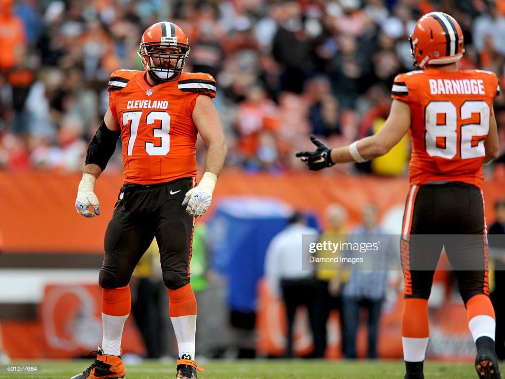 Left tackle Joe Thomas of the Cleveland Browns talks with tight end Gary Barnidge during a game against the San Francisco 49ers on December 13 2015...