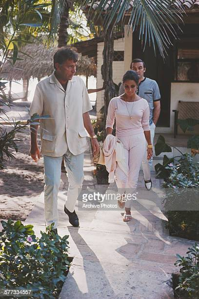 actors Elizabeth Taylor Stanley Baker and Richard Burton Puerto Vallarta Mexico 12th January 1964 Burton is in Mexico for location filming on John...