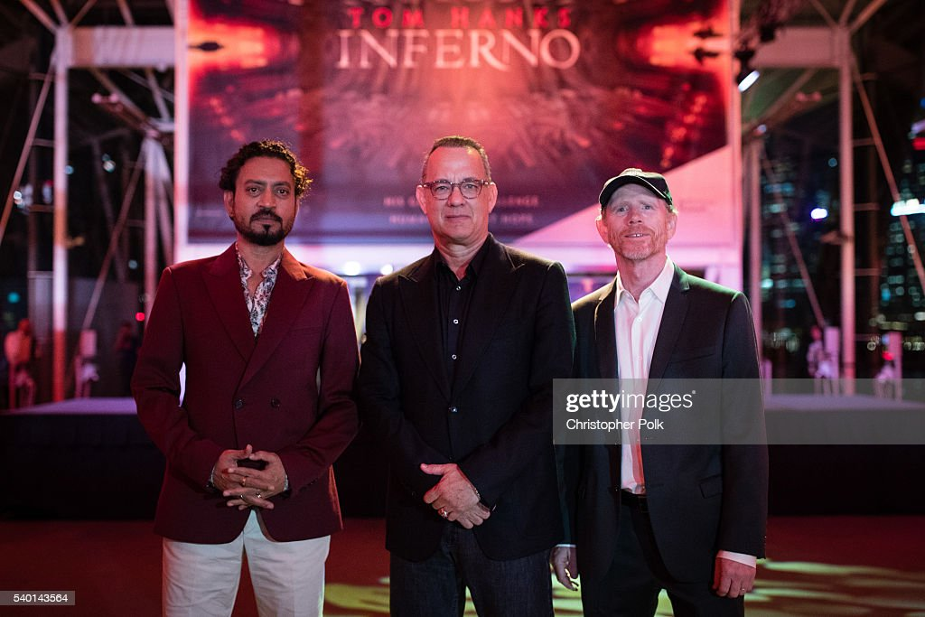 Actors Irrfan Khan, <a gi-track='captionPersonalityLinkClicked' href=/galleries/search?phrase=Tom+Hanks&family=editorial&specificpeople=201790 ng-click='$event.stopPropagation()'>Tom Hanks</a> and director <a gi-track='captionPersonalityLinkClicked' href=/galleries/search?phrase=Ron+Howard+-+Director&family=editorial&specificpeople=201972 ng-click='$event.stopPropagation()'>Ron Howard</a> attend the 'Inferno' red carpet and photo call at the ArtScience Museum at Marina Bay Sands on June 14, 2016 in Singapore.