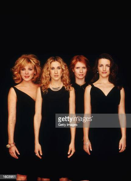 Left to right actresses Kim Cattrall Sarah Jessica Parker Cynthia Nixon and Kristin Davis pose for a portrait in an undated photo on the set of the...