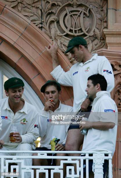 Left to right Adam Gilchrist Justin Langer Matthew Hayden and Brad Hodge of Australia celebrate their victory after the 1st Ashes Test match between...