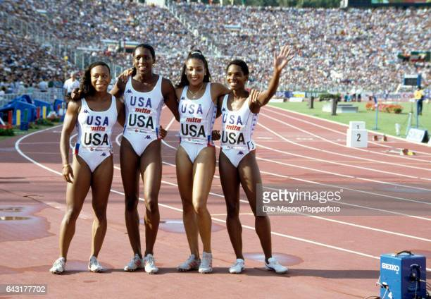 Alice Brown Pam Marshall Florence GriffithJoyner and Diane Williams after winning the gold medal for the United States in the women's 4x100 metres...