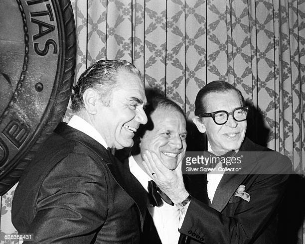 American actor Ernest Borgnine with American comedians Don Rickles and Milton Berle at the Friars Club Roast of George Raft at the Beverly Hilton...