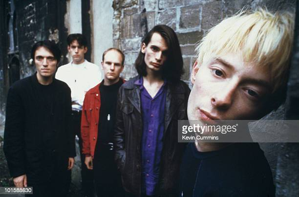 Left to right are bassist Colin Greenwood guitarist Ed O'Brien drummer Phil Selway guitarist Jonny Greenwood and singer and songwriter Thom Yorke of...