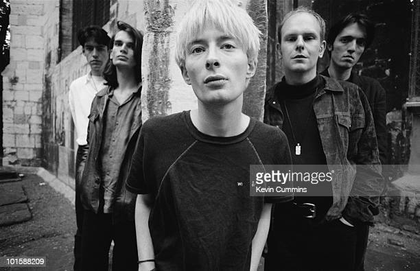 Left to right are guitarist Ed O'Brien Jonny Greenwood singer and songwriter Thom Yorke drummer Phil Selway and bassist Colin Greenwood of British...
