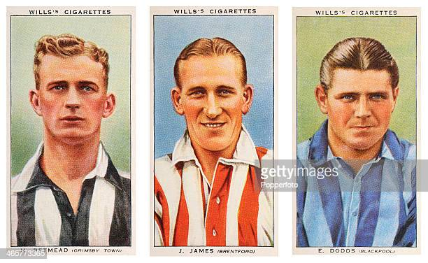 Left to right Association footballers Harry Betmead of Grimsby Town FC Joe James of Brentford FC and Jock Dodds of Blackpool FC featured on vintage...