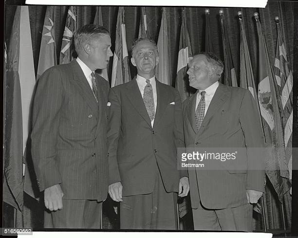 Left to right at the Waldorf Astoria Hotel Thomas Watson Jr National Chairman of United Nations Week Hon Philip C Jessup Ambassador at Large and...