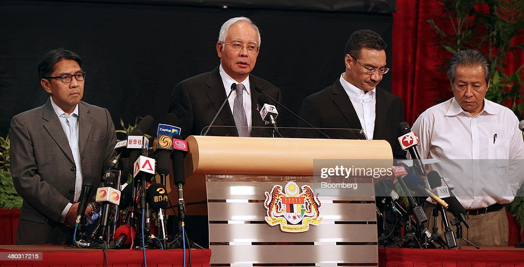 Left to right, Azharuddin Abdul Rahman, director general of Malaysia's Department of Civil Aviation, Najib Razak, Malaysia's prime minister, Hishammuddin Hussein, Malaysia's acting transport minister, and <a gi-track='captionPersonalityLinkClicked' href=/galleries/search?phrase=Anifah+Aman&family=editorial&specificpeople=5958202 ng-click='$event.stopPropagation()'>Anifah Aman</a>, Malaysia's minister of foreign affairs, attend a news conference in Kuala Lumpur, Malaysia, on Monday, March 24, 2014. Investigators concluded that Malaysian Air Flight 370 crashed in the southern Indian Ocean, ruling out theories of a detour over Asia, even as the search for wreckage from the jetliner drags on. Photographer: Goh Seng Chong/Bloomberg via Getty Images