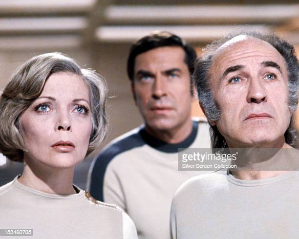 Barbara Bain as Doctor Helena Russell Martin Landau as Commander John Koenig and Barry Morse as Professor Victor Bergman in the British TV science...