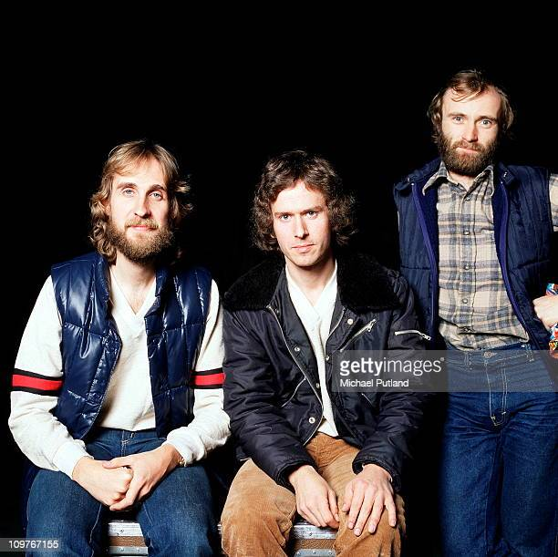 Left to right bassist Mike Rutherford keyboard player Tony Banks and singer Phil Collins of Genesis in 1978