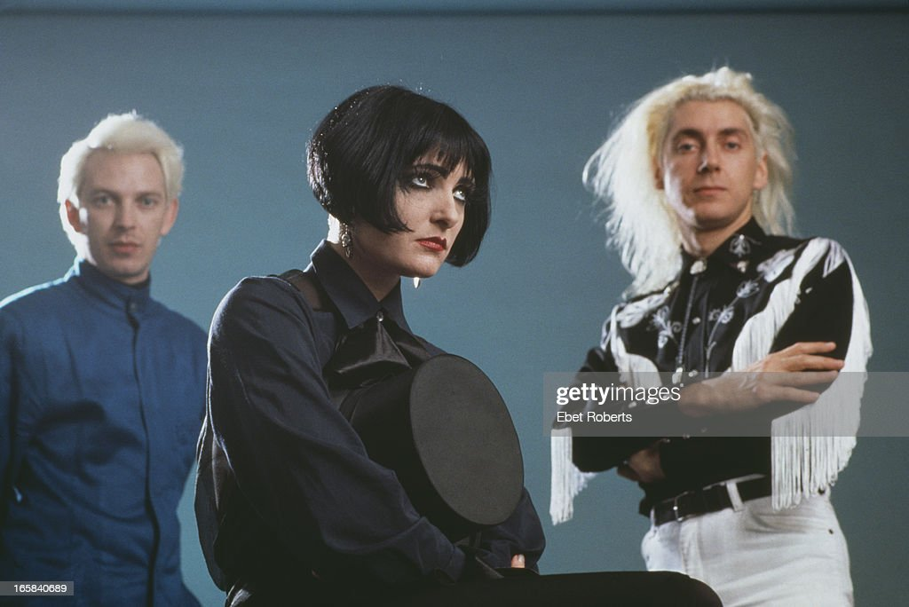 bassist Steven Severin, singer <a gi-track='captionPersonalityLinkClicked' href=/galleries/search?phrase=Siouxsie+Sioux&family=editorial&specificpeople=714537 ng-click='$event.stopPropagation()'>Siouxsie Sioux</a> and drummer Budgie, of English rock group Siouxsie and the Banshees, New York City, 28th October 1988.