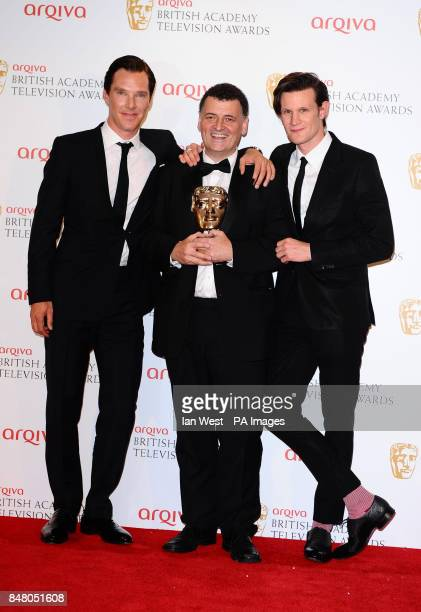 Left to right Benedict Cumberbatch Steven Moffat with the Special Award and Matt Smith at the Arqiva British Academy Television Awards 2012 at the...