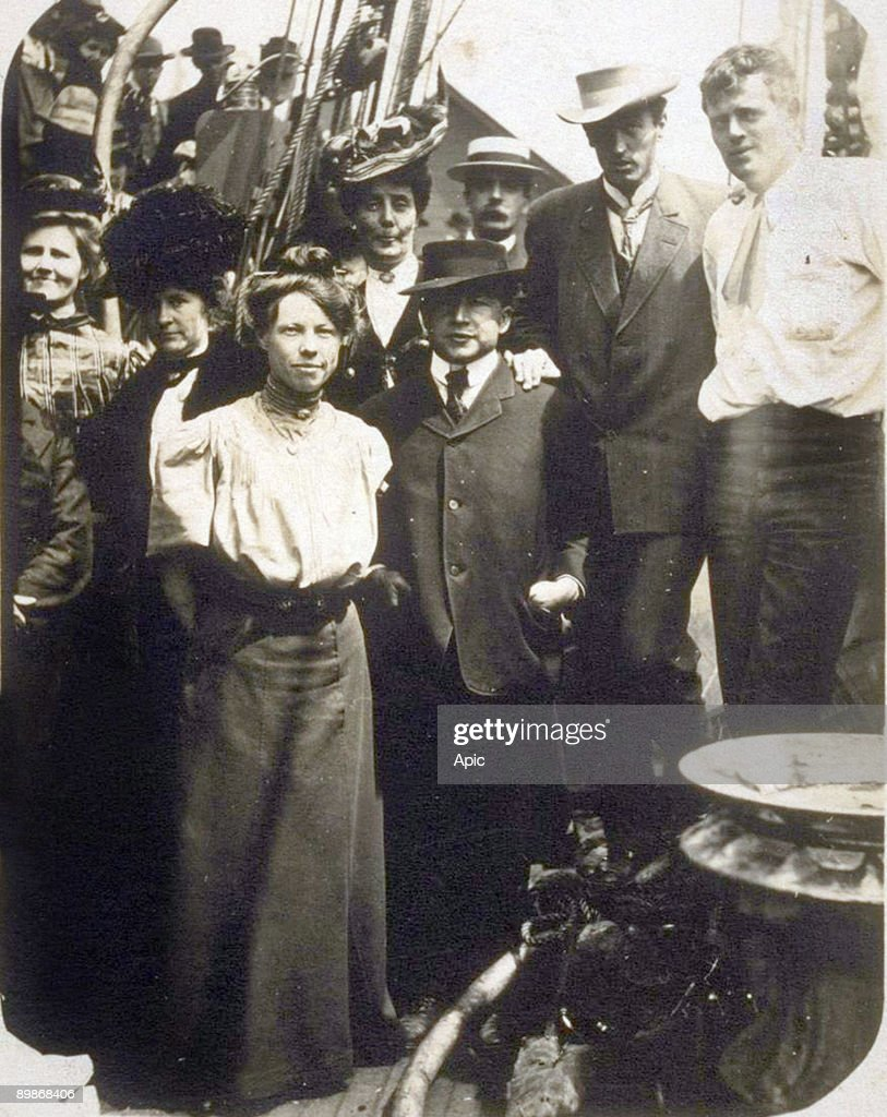 Left to right Bertha Newberry Mrs Carlton Bierce Charmian London Carrie Sterling James Hopper Dick Partington George Sterling Jack London on board...