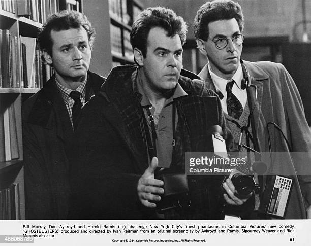 Bill Murray Dan Aykroyd and Harold Ramis as paranormal investigators in Ivan Reitman's 1984 comedy 'Ghostbusters'