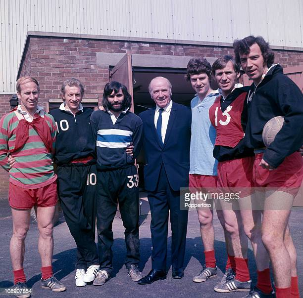Left to right Bobby Charlton Denis Law George Best Sir Matt Busby Brian Kidd Pat Crerand and David Sadler at Manchester United's Cliff training...