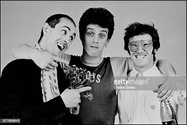 British painter Humphrey Ocean with Kosmo Vinyl spokesperson for the Clash and Ian Dury and his associate Jock Macdonald pose together in a London...