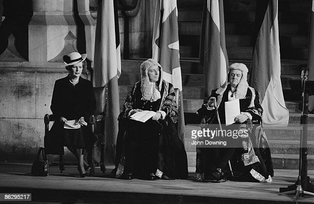 British Prime Minister Margaret Thatcher Speaker of the House of Commons George Thomas 1st Viscount Tonypandy and Lord Chancellor Quintin Hogg Baron...
