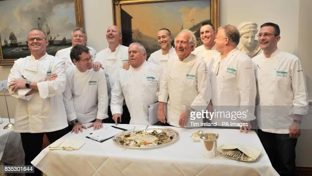 Left to right Chef judges Heston Blumenthal Andrew Farlie Brian Turner David Nicholls Albert Roux Michel Roux Jnr Michel Roux Gary Rhodes Richard...