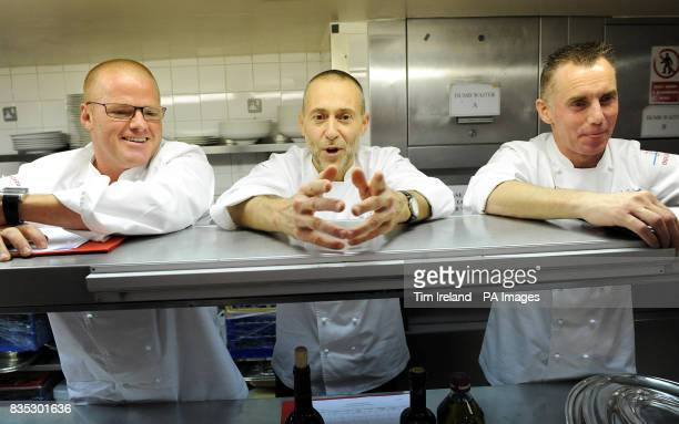Left to right Chef judges Heston Blumenthal Michel Roux Jnr and Gary Rhodes during the final of the Roux Scholarship at the Mandarin Oriental Hotel...