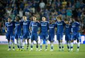 Left to right Chelsea midfielder Frank Lampard Chelsea's Belgian striker Romelu Lukaku Chelsea defender Gary Cahill Chelsea's Serbian defender...