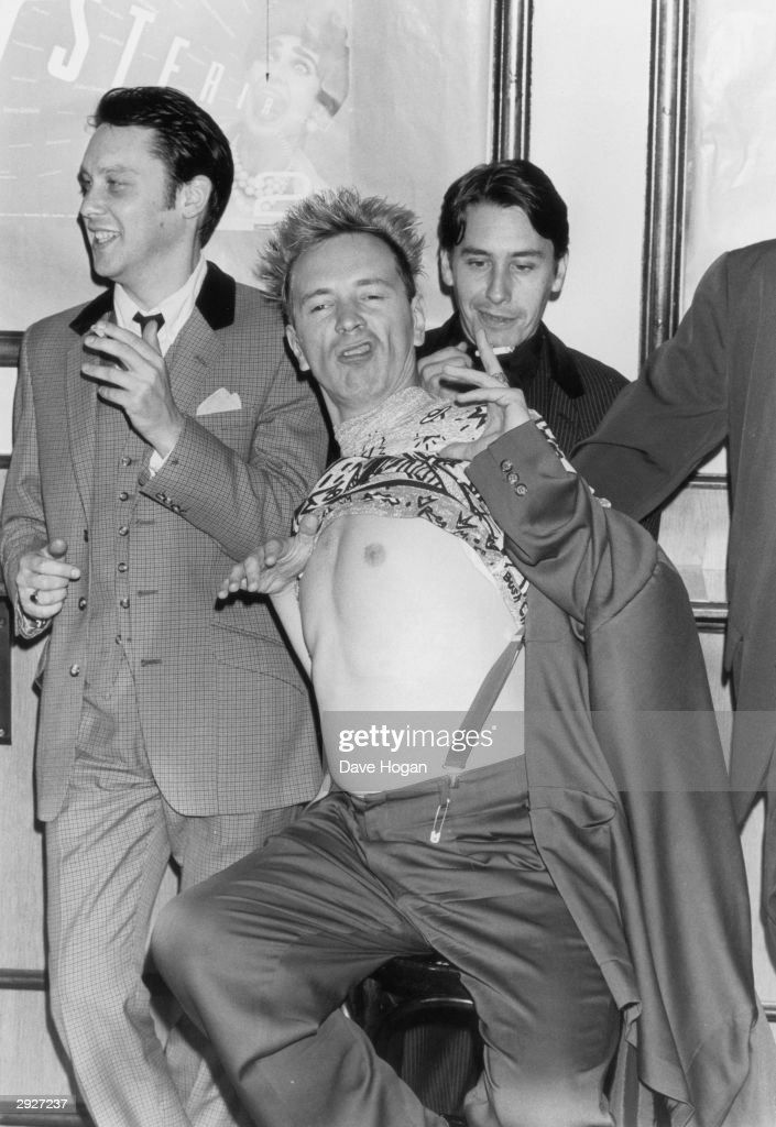 comedian Vic Reeves, singer John Lydon, and pianist and television presenter Jools Holland at the Hysteria II AIDS charity event at the Sadlers Wells Theater, London, 18th September 1989.