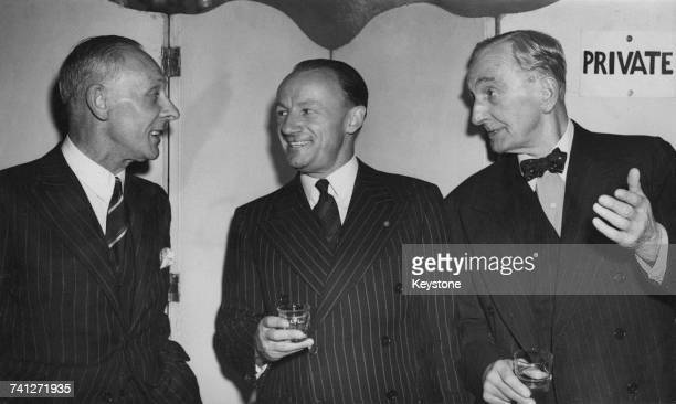 cricketers Jack Hobbs Don Bradman and C B Fry at a luncheon held at the Grosvenor House Hotel London 20th April 1948 They are guests of the London...