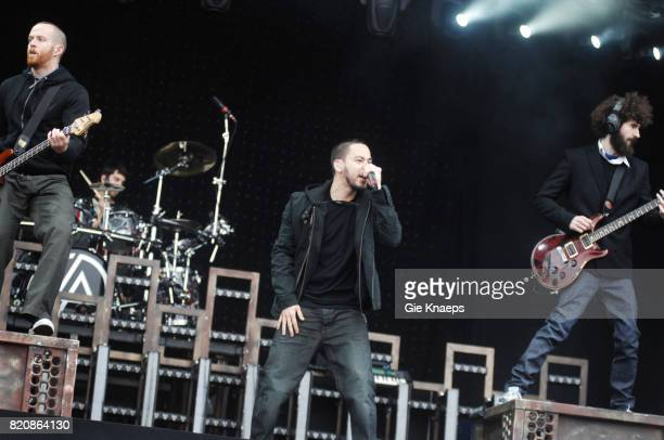 Dave Farrell Rob Bourdon Mike Shinoda and Brad Delson performing with American rock group Linkin Park at the Pinkpop Festival Landgraaf Netherlands...