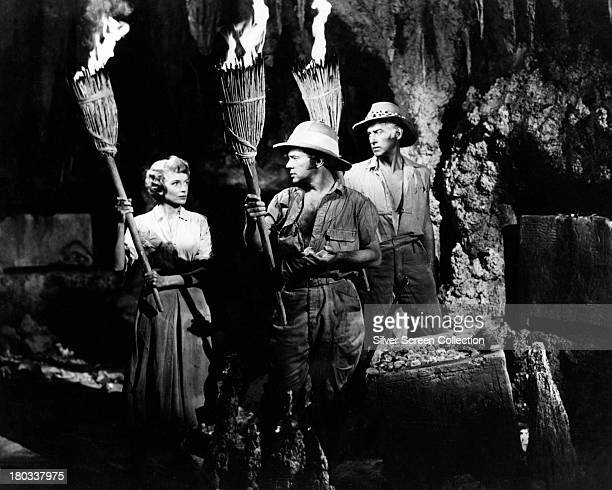 Deborah Kerr as Elizabeth Curtis Richard Carlson as John Goode and Stewart Granger as Allan Quatermain in 'King Solomon's Mines' directed by Compton...