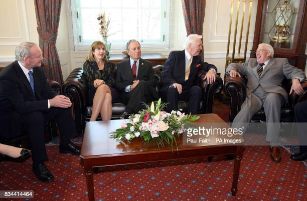 Left to right Deputy First Minister Martin McGuinness Ambassador Paula Dobriansky New York Mayor Michael Bloomberg Sir Anthony O'Reilly Chief...