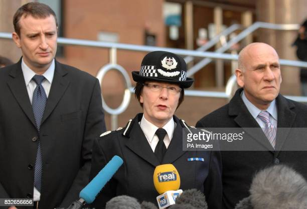 Left to right Detective Superintendent Andy Brennan Deputy Chief Constable of West Yorkshire Police Julia Hodson and Neil Franklin of the Crown...