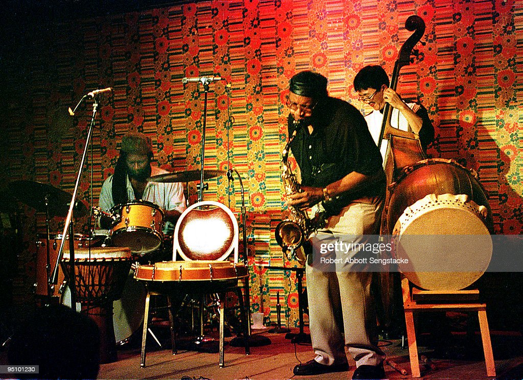 Drummer Hamid Drake, saxophonist Fred Anderson, and bassist Tatsu Aoki perform at Fred Anderson's Velvet Lounge during a CD release party for Delmark Records, Chicago, IL, ca.2005.