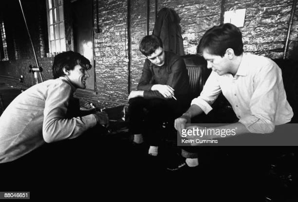 drummer Stephen Morris singer Ian Curtis and guitarist Bernard Sumner of rock group Joy Division at TJ Davidson's rehearsal room Little Peter Street...