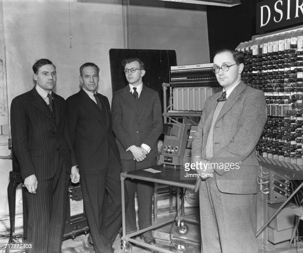 Electronic engineer Edward Newman Supervisor Francis Colebrook mathematician James H Wilkinson and computer scientist Donald Davies with the Pilot...