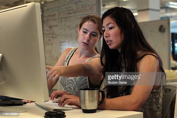 Left to right Emily Breslow and Alana Pradhan work inside the Harvard iLab for a local startup called Bobo Analytics Inc