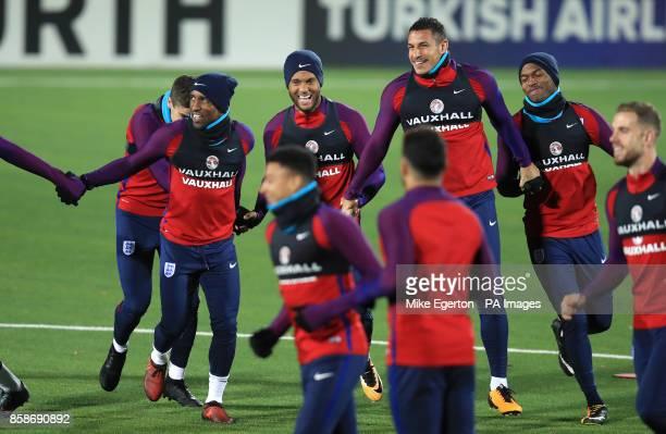 Left to right England's Harry Winks Jermain Defoe Ryan Bertrand Jake Livermore and Daniel Sturridge during the training session at the LFF Stadium...