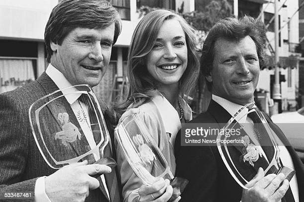 English actors William Roache Anne Kirkbride and Johnny Briggs with their trophies at the Pye Colour Television Awards London 23rd May 1983 They play...