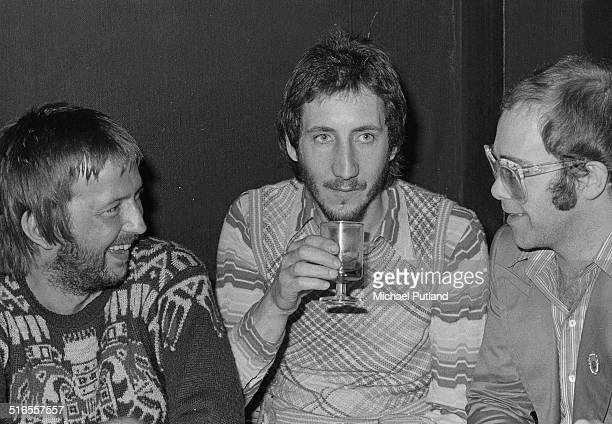Eric Clapton Pete Townshend and Elton John at a special party to mark Clapton 's return to recording and live performance at the China Garden in Soho...