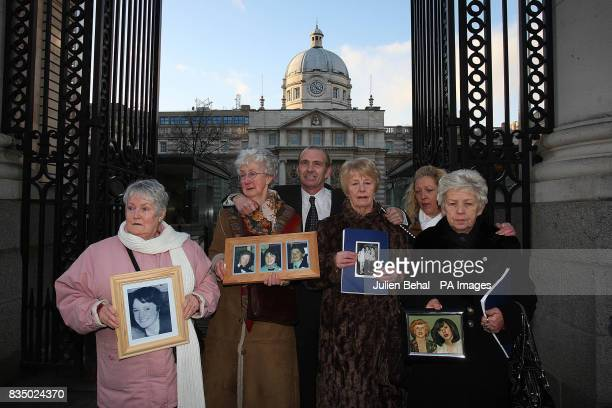 Left to right Families of the victims of the Stardust disaster Pat Kennedy Bride McDermott Eugene Kelly Betty Bisset Antoinette and Christine Keegan...