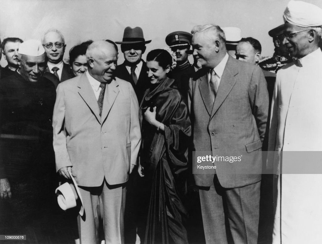 First Secretary of the Soviet Communist Party Nikita Khrushchev (1874 - 1971), Indian Prime Minister Indira Gandhi (1917 - 1984) and Soviet Premier Nikolai Bulganin (1895 - 1975), Palam Airport, New Delhi, 18th November 1955. The Soviet leaders are on a tour of India and Burma. The airport is now known as Indira Gandhi International Airport.