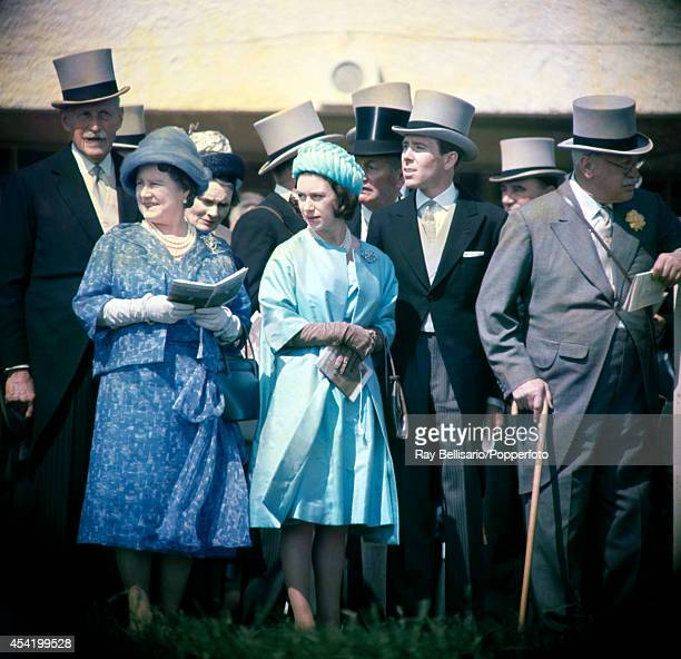 Queen Elizabeth The Queen Mother Princess Margaret and Lord Snowdon at the Epsom Derby on 6th June 1962