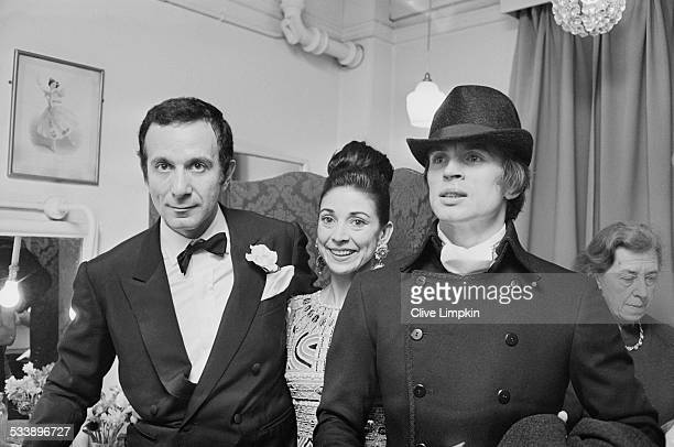 French choreographer and dancer Roland Petit with British ballerina Margot Fonteyn and Russian ballet dancer Rudolf Nureyev at the premiere of...