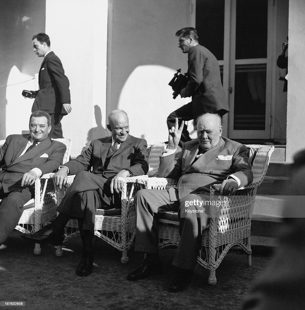 French Prime Minister Joseph Laniel (1889 - 1975), American President Dwight D Eisenhower (1890 - 1969) and British Prime Minister Winston Churchill (1874 - 1965) at the Mid Ocean Club in Bermuda for a summit conference to discuss relations with the Soviet Union, 6th December 1953.