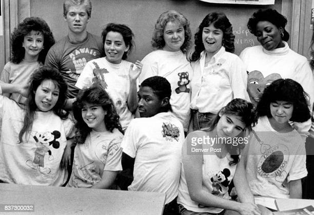 NOV 5 1987 left to right front row Janice Salano Lisa Clements Rayfield Harris Coleen Craig Mee Chang left to right back row Ferri Olson Jeremy Faust...