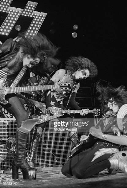 Gene Simmons Paul Stanley and Ace Frehley performing with American heavy metal group Kiss on their second UK appearance at the Hammersmith Odeon...