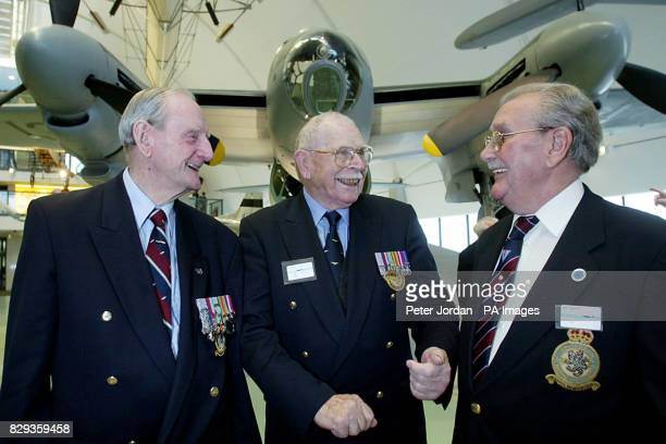 Left to right George Cash a navigator from Great Dunmow in Essex Joe Patient a pilot from Eastbourne and Albert Bernard from Carshalton in Surrey all...