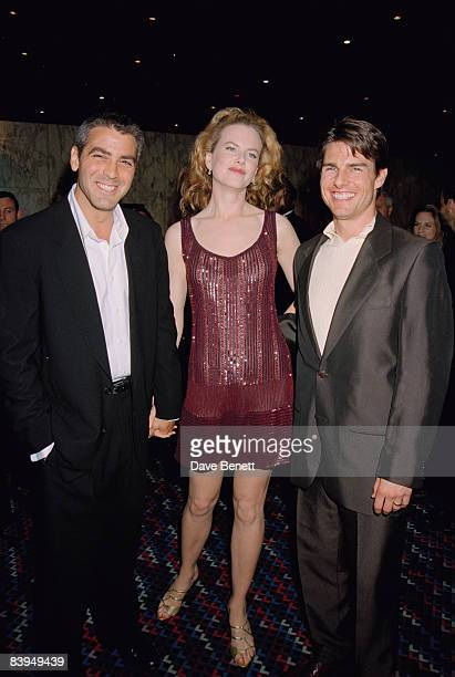 George Clooney Nicole Kidman and her husband Tom Cruise at the premiere of 'Mission Impossible' at the Empire Leicester Square London 4th July 1996...