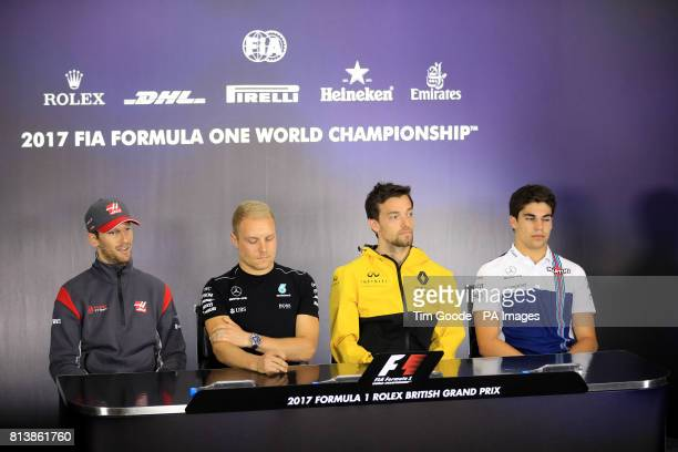 Left to right Haas' Romain Grosjean Mercedes' Valtteri Bottas Renault's Jolyon Palmer and Williams' Lance Stroll during Paddock Day of the 2017...