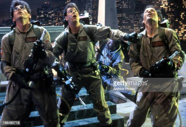 Harold Ramis Dan Aykroyd and Bill Murray in a scene from the film 'Ghostbusters' 1984