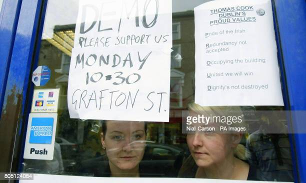 Left to right Holiday Direct employees Sinead Murphy and Helen Bernes hold a sit in a Talbot street store for an improved redundancy package