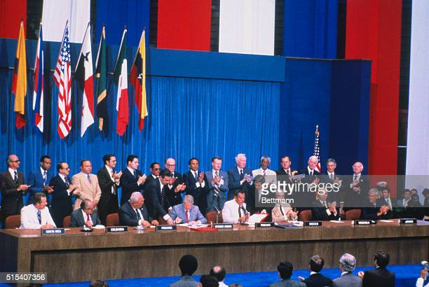 Left to right in front are President Rodrigo Carazo of Costa Rica President Alfonso Lopez Michelson of Columbia President Demetrio Lakas of Panama...